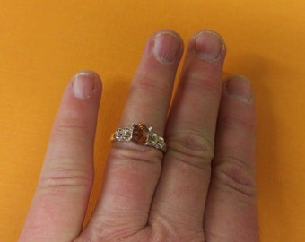 Golden Zircon Ring - Natural Zircon & Sterling Silver Ring - Woman's Zircon Ring