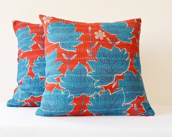 Set of 2 Red & Blue Vintage Cotton Kantha Pillow Covers, 4 layer Leaf Print Cotton Kantha Cushion Covers , Red and Blue Decorative Pillows