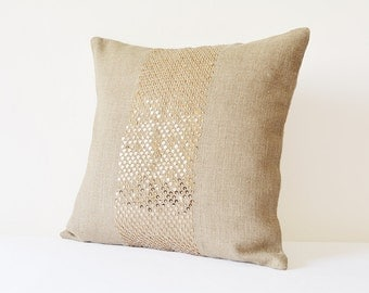 Natural Linen Pillow Cover with Gold Sequins , Gold Holiday Decor , Linen & Gold Shimmer Cushion Cover ,  Linen Gold Decorative Pillow