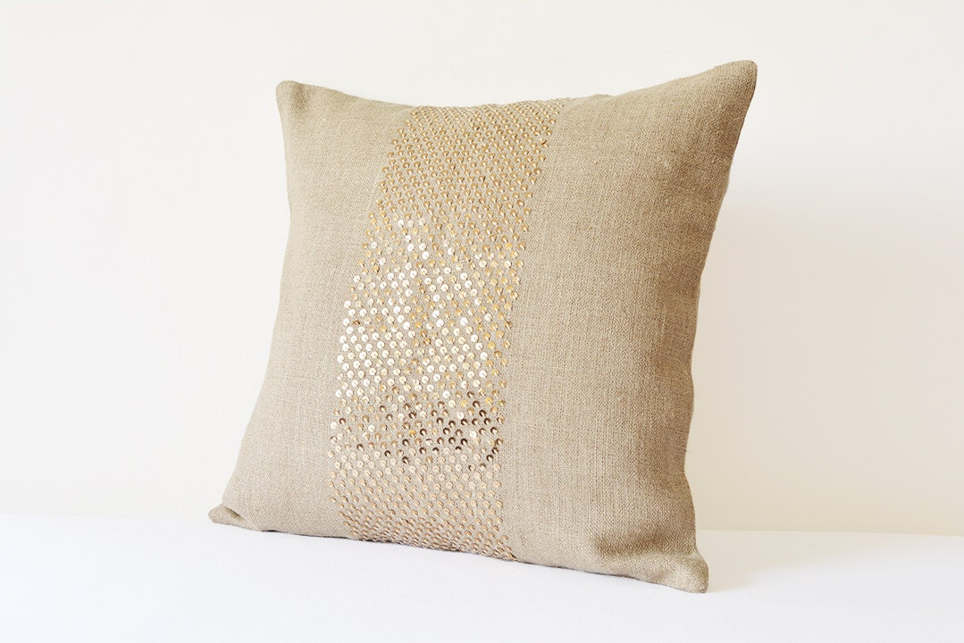 natural linen pillow cover with gold sequins gold holiday. Black Bedroom Furniture Sets. Home Design Ideas