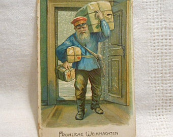 MERRY CHRISTMAS POSTCARD St Nick Delivery Man Rustic Blue Peasant Shirt Packages, 1913 Frohliche Weihnachten German Stamp Postmark Embossed