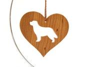 Newfoundland Dog Ornament Heart Shaped Wood Dog Ornament Dog Breed Ornament Newfoundland Love Ornament Cherry