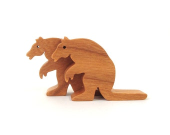 Wood Giant Armadillo Toy Waldorf Miniature Noah's Ark Animal Wooden South American Animals Miniature Armadillo Figurine Cherry