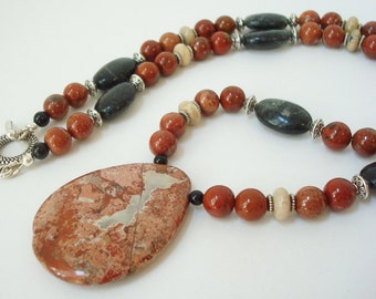 Brecciated Jasper Necklace Gemstone Beaded Necklace Brick Red Jasper Stone Jewelry Poppy Jasper Pendant Necklace