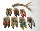 Leather Feather Earrings- Leather Fringe