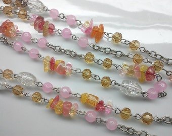 36 Inches Faceted Pink , 6 mm x 8 mm clear Tube, Orange Yellow Pink Gemstone chip beads and  Silver chain, DIY  Craft Supply.