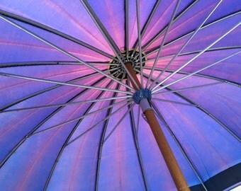Purple Umbrella Lucite Handle Vintage Wow! Parasol Wooden