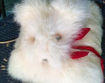 Vintage White Fur Muff Puppy Face