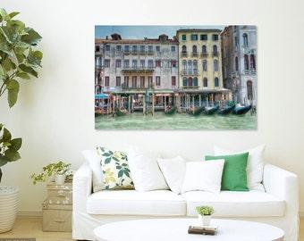 Italy Art, Canvas, Grand Canal, Venice, Italy, Gondolas, Gondola, fPOE, Dreamy, Pastel, Architecture