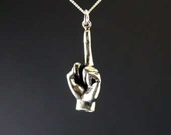 Fuck off jewelry, fuck off charm, fuck you middle finger shove it pendant, up yours sterling silver, rebel jewelry
