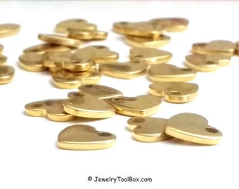 Heart Charms, Gold Stainless Steel Stamping Blank, Gold Hearts, 11x10x1.5mm, Hypoallergenic, Non-Tarnish, Lot Size 2 to 12, #1600 G