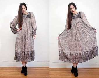 FREE SHIPPING Vintage Indian Cotton Gauze Boho Dress Hippie Dress Ethnic Floral Gauze Cotton Dress 70's