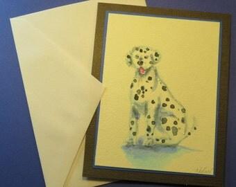 DALMATION DOG CARD, Original Handmade Watercolor (Blank Inside)