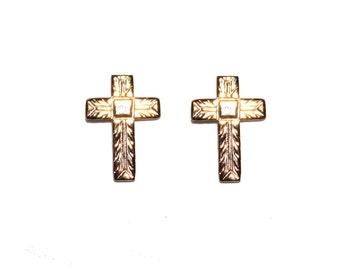 Tiny Vintage 12kt Gold Cross Electroplated Earrings - tiny gold stud earrings everyday earrings vintage gold GE gold