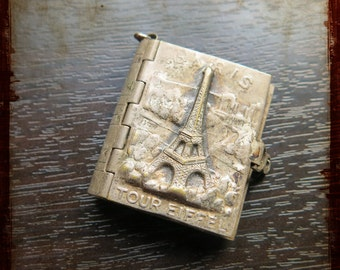 Antique French Silver photo album Book Locket Pendant from Paris - Vintage Jewelry Souvenir from France