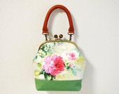 2 WAY frame bag - Cottage Floral fabric with medium weight cotton in green - handbag, shoulder bag, crossbody bag, real leather handle