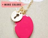 Large Gold Oval Locket - Keyhole & Heart Charm Necklace