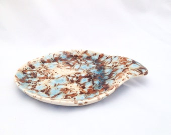 Ceramic Spoon Rest - Large Spoon Holder - White, Blue and Brown