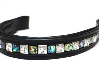 Handmade Abalone and Tibetan Silver Bead Leather Horse Browband Dressage English Bridle Cob Full Oversize Many Shapes Available Made In USA