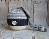 Newborn Boy Photo Prop Hat - Upcycled Long Tail Knotted Stocking Cap - Gray, Black and White Stripes - READY TO SHIP