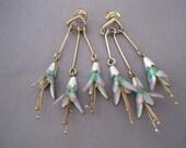RESERVED:  Vintage Sterling Enamel Honeysuckle Dangling Earrings