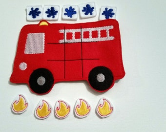 Fire Truck Tic Tac Toe Game, Tic Tac Toe Game, Kids Game, Handcrafted Game, Birthday Gift, Holiday Gift, Travel Game, Ready to Ship