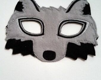 Felt Wolf Mask, Animal Mask, Kids Mask, Felt Mask, Machine Stitched, Pretend Play, Child Mask, Ready to ship