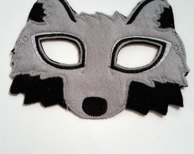 Featured listing image: Felt Wolf Mask, Animal Mask, Kids Mask, Felt Mask, Machine Stitched, Pretend Play, Child Mask, Ready to ship
