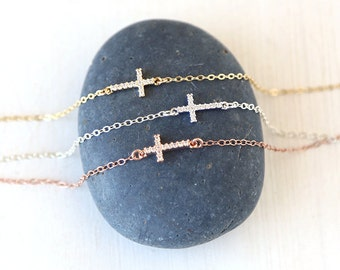 CZ Cross Choker Layering  Necklace / Sterling Silver / Rose Gold / 14K Gold Filled / Modern Simple Shimmer Necklace