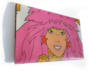 Jem and The Holograms Purse - Upcycled Vintage 80s Book Page in PVC - Coin Wallet, Womens Wallet, Change Purse