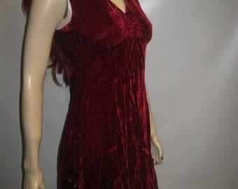 Sale! 1960's Red Burgundy VELVET Cocktail BABYDOLL Dress EMPIRE Waist Small