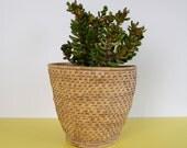 Vintage Basket Planter, Retro Wicker Plant Pot, Natural Basket Plant Pot, Vintage Basket, Boho Wicker Basket, Vintage Planter