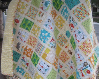A Day at the Zoo.....A Gender Neutral Fray Edge Quilt.........Ready to Ship