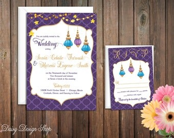 Wedding Invitation - Moroccan Painted Lanterns - Invitation and RSVP Card with Envelopes