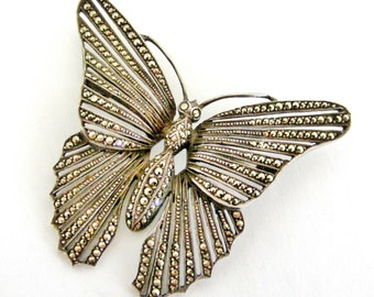 Art deco large sterling silver marcasite butterfly brooch.
