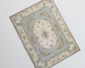 Miniature French Aubusson Rug in a Light Gray Blue Cream and Rose Border  Large Sizes