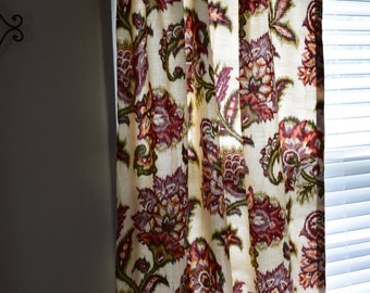 Clearance Ikat Floral Rod Pocket Curtain Panels