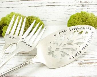Love Laughter and Happily Ever After. Hand Stamped Wedding Cake Serving Set. I Do Me Too Dessert Forks. Stamped Vintage Silverware. 329WED