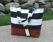 black stripe diaper bag, diaper bag with leather bottom, tote bag in black shakes geometric with leather, Everything Bag, Zig Zag,