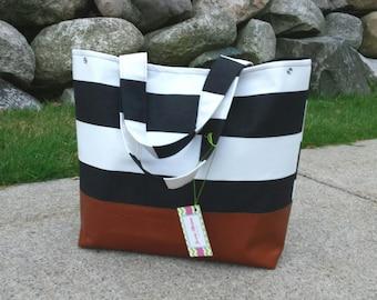 black stripe diaper bag, leather diaper bag, shoulder bag, canvas tote bag, overnight bag, totoe bag, baby bag