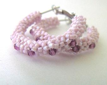 Light pink beaded earrings | pink beaded hoops | woven seed bead earrings | pink beaded jewelry | amethyst crystal hoop earring