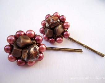 Vintage earrings hair grips - Raspberry chocolate beaded cluster bauble pearls girl fun unique embellish jeweled decorative hair accessories