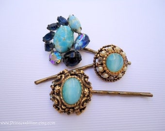 Vintage earring bobby pins - Turquoise stone light sky baby robins egg blue gem pearl Victorian inspired antique gold fancy hair accessories