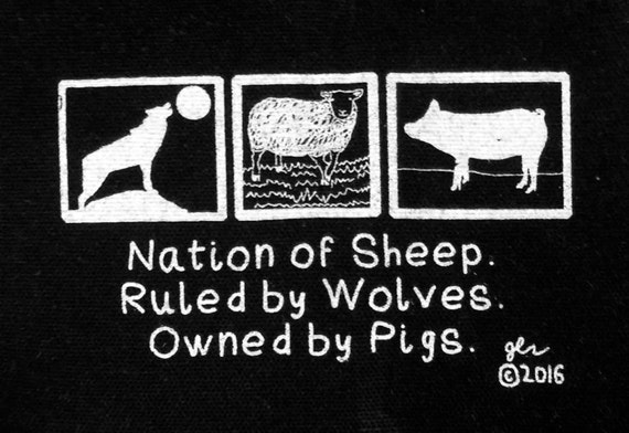 Punk Patches Punk Patch Political Punk Nation of Sheep Ruled by Wolves Owned by Pigs Capitalism Crass Tragedy Crust DIY Small Cloth Patch