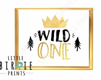 WILD ONE Birthday party decorations Boy Wild one birthday party sign Crown Gold Invitation to match in shop - wild one birthday decorations