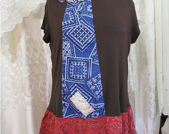 Boho Top, upcycled top, brown shirt top, eco friendly clothing, womens MEDIUM LARGE