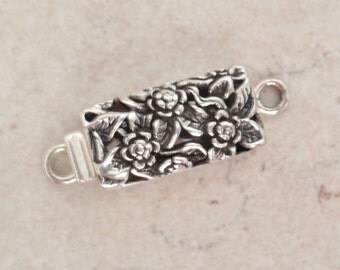 Sterling Silver Box Clasp Large Floral Rectangular Single Strand Qty. 1 Jewelry Supplies