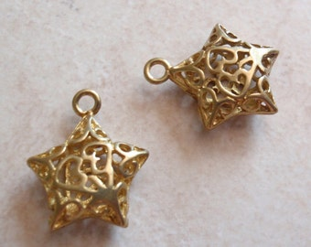 Gold Star Charms Jewelry Findings Components Qty. 2 Openwork Destash