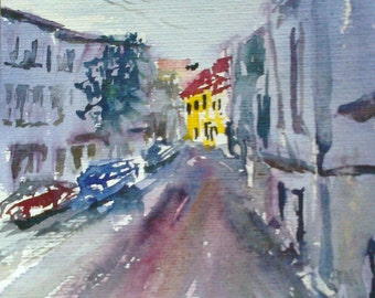 Street viev 21 x 27 cm. Miniatiure. Original watercolor painting