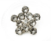 Gorgeous Ornate Vintage 11-Stone Rhinestone Star Button Set, 27mm, 4pc/Set